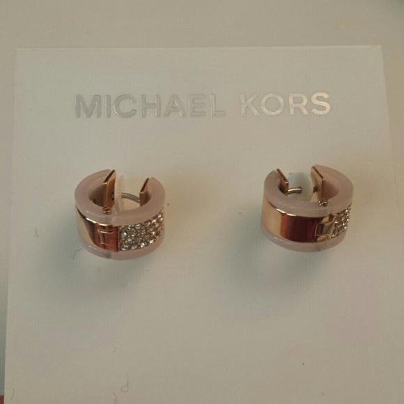 dca5863900df46 Michael Kors Jewelry | Nwt Rose Gold Huggie Blush Earrings | Poshmark